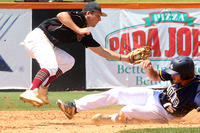 009 - Jeff Davis' Hunter Foster steals second base as Johns Creek's Chaz Bertolani applies the tag